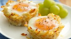 breakfast eggs, muffin tins, egg cups, food, potatoes, bacon, hash browns, nests, brunch