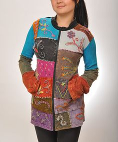 This Rainbow Embroidered Patchwork Zip-Up Jacket by Royal Handicrafts is perfect! #zulilyfinds