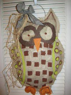#burlap owl door hanger
