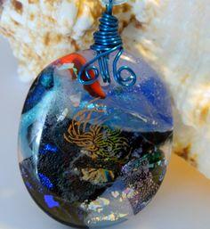 Fused Glass Wire Wrapped Storm Sea pendant necklace by uniquenique, $28.00 #onfireteam #lacwe #jewelry #pendant #tbec #fest