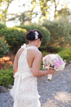 stunning back on this lace dress by J.Crew  Photography By / corbingurkin.com, Floral Design By / theflowerhouse.com