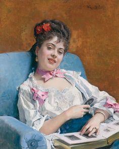 Raimundo de Madrazo y Garreta (Spanish 1841–1920) [Salon, Portraiture] Aline sosteniendo un sombrero.