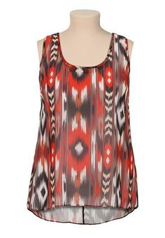 contrast lattice back printed high-low plus size tank (original price, $29) available at #Maurices