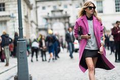 fashion weeks, 2014 street, street styles, street style london, pink, spring 2014, london fashion, week spring, coats