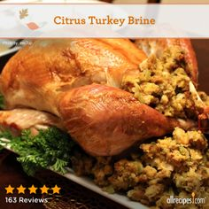"Citrus Turkey Brine | ""I made this recipe last Thanksgiving for my my husband who is not a big fan of turkey. He loved it! I'm making it again this year. This the the juiciest turkey you will ever eat. I give it a BIG 10!!"""