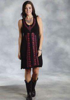Stetson® Black Crochet & Embroidered Sleeveless Western Dress