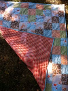 picnic blanket: quilt top, oilcloth bottom