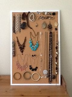 Organize jewelry on a cork board for easy viewing when deciding how to accessorize an outfit --- this is also a great way to sell costume jewelry if you are selling it at a garage sale. - MilitaryAvenue.com