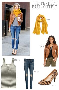 Tan Leather Jacket Styling- love all of this!