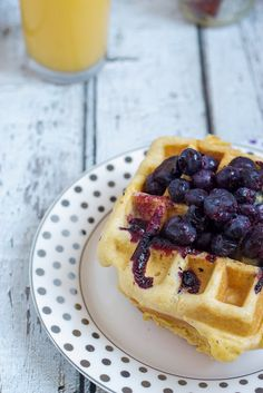 Blueberry Cornmeal Waffles #brunchweek from The Girl In The Little Red Kitchen