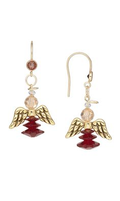 Earrings with Antiqued Gold Angel Wings and Swarovski® Crystal Beads by Marlynn McNutt.
