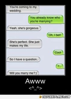 I love it!!!!!!!!!!!!!!!!! <3 SO SWEET!!!!!!!!!!!!!!!!!! except idk if i would want to be proposed to via text message!!!!!!!! :)