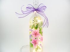 Lighted Wine Bottle Pink Azalea Purple Sage Lighted Wine Bottle Hand Painted 750 ml