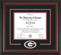 University of Georgia Diploma Frame with hardwood moulding and 3D Laser G Cutout - Black on Red Mat.  Awesome graduation gift for any Bulldog! bulldog, graduation gifts, diploma frame, graduat gift