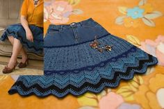 Blue jean skirt with diagram