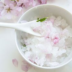 Create floral fragrant body sugar scrub to fight dry skin!  This one uses cherry blossom petals but you can use anything from rose to lilac!