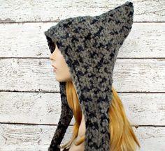 Crocheted Pixie Hat in Raven Grey