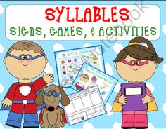 Syllables Signs, Games, & Activities Kindergarten & 1st Grade from First Grade Shashay on TeachersNotebook.com -  (13 pages)  - Help your students identify syllables with this Super Syllable Packet! With colorful signs and games that can be used for centers, this packet is perfect for whole-group or small-group instruction. In