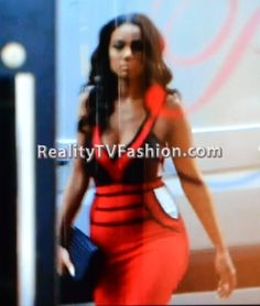 "Erica Mena's Red & Black Cut-Out Bandage Dress on ""Love & Hip Hop New York"""