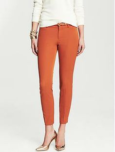 "Banana Republic Sloan Fit Ankle Pant, $89.50: ""I already have a pair of these in burgundy; I think the rusted orange would be great with a cream colored sweater. It reminds me of my favorite Thanksgiving dish -- pumpkin pie. Mmmmm."" - Tyler"