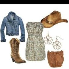 Jean jacket cowboy boots with cute summer dress