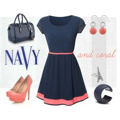 Navy and coral tie waist dress