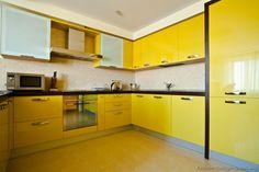 #Kitchen Idea of the Day: Modern yellow kitchens.