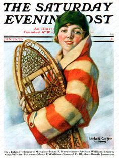 """""""Woman and Snowshoe"""" By W.H. Coffin. Issue: January 26, 1929. ©SEPS."""