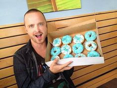 "Breaking Bad. Jessie in ABQ with ""the blue"" on his doughnut.  Via Meanwhile in New Mexico via Facebook."