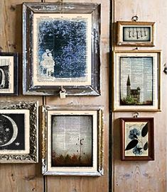 Photos printed on old book pages. Would love to do this on the pages of my fav books and frame them!