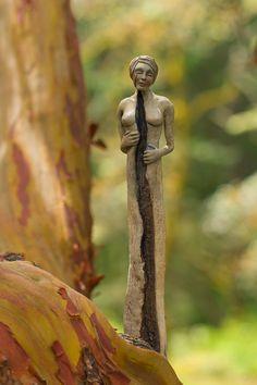 Split Woman driftwood sculpture by Debbie Bernier