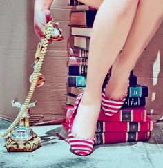 books, vintage, color, red shoes, telephones, flats, stripes, photography, stripe flat