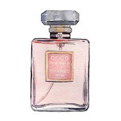 Coco Mademoiselle, Chanel, Watercolor Fashion Illustration, Art Print. $10.00, via Etsy.