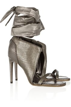 Metallic textured-leather sandals by Rick Owens