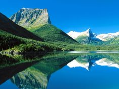 Mountains Mirrored St Mary Lake Glacier National Park Montana the national, glacier nation, montana, rocky mountains, human nature, landscape photography, national parks, lake, place