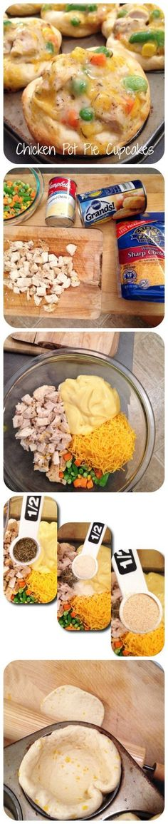 Chicken Pot Pie Cupcakes - use your own pot pie filling recipe but great idea for using biscuits to line a cupcake pan