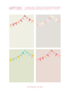 Freebie | Happy Days | Journaling Cards by Creativity Prompt., darling bunting journaling cards