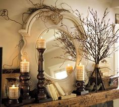 mirror, fall mantels, decorating ideas, branch, fall decorating