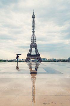 Eiffel Tower on a rainy day