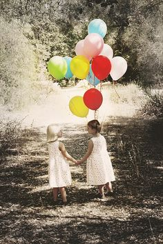 It's my turn to carry the balloons.