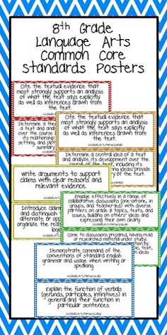 8th Grade Language Arts Common Core Standards Posters
