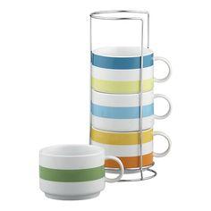 Jumbo Stripe Mugs with Metal Rack  $19.95