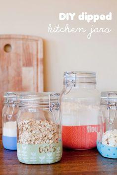 DIY Hand-dipped Jars.