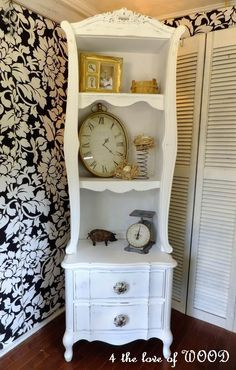 4 the love of wood: WHATNOTS TO WONDERLAND - she created this piece from a small nightstand and bits and pieces of several other pieces of furniture.  So creative!