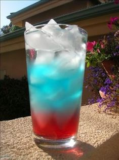 4th of July drink! first use red fruit punch, then blue gatorade, and last use sprite and they separate. Adults can add alcohol to drinks.