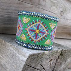 Green embroidered cuff by windyriver on Etsy $56.00 #cuff #accessories #jewelry #jewellery #color #colour #green