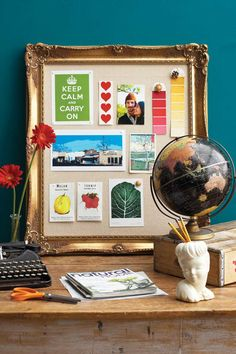 True Visionary: Create a Personalized Vision Board -- or add pictures/paint chips with similar colors as the room