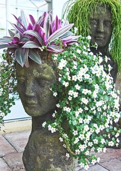 Get creative with Stone Face Planters.   http://emfl.us/s-Ed  #containers #flowers #Provenwinners garden planters, head planter, plants, gardens, garden angel, flower children, flowers, hair, container gardening