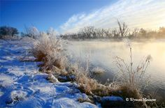 Winter fog rises off the Canadian River