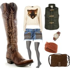 Chic Rainy day stompin'! A set that is just perfect for a gloomy day..., created by allensboots.polyvore.com with Womens Old Gringo Mayra Boots Brass Style via @Allens Boots